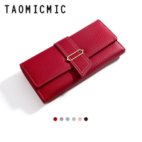 New Red Black PU Leather Long Women Wallet with Button Long Pocket