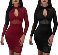 Hot sale long sleeve front hollowed women lace dress