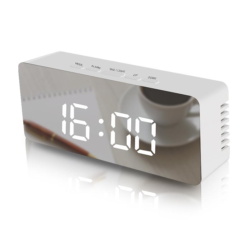 LED multi-function digital snooze display time desktop alarm mirror clock фото