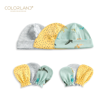 COLORLAND scratch mittens and caps set cotton baby hat with gloves for newborns