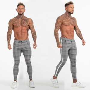 2019 Super Comfy Stretchy White Side Stripe Check Pants Slim Fit Chinos Trousers Men
