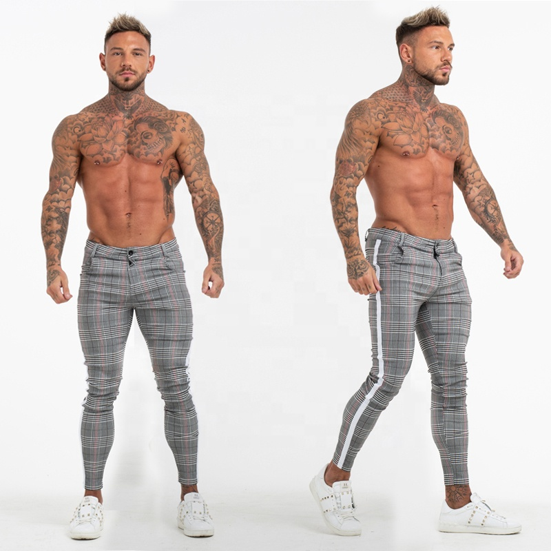 2019 Super Comfy Stretchy Wit Side Streep Check Broek Slim Fit Chino Broek Mannen