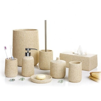 Factory Price Beige Color Decorative Sandstone Bathing Products with Soap Dish Polyresin Bathroom Asscssories Set