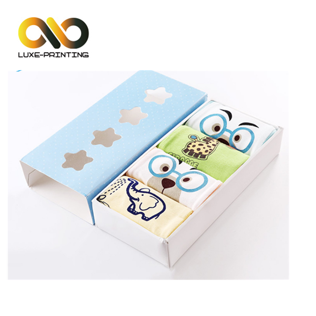 Cartoon kids colorful paper gift packaging box for underwear and socks