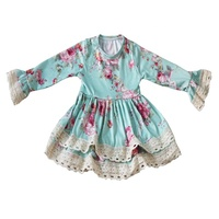 Boutique Little girl Casual Long Sleeves Floral Fall Winter Dress Baby Girl Frock Design Girl Dress