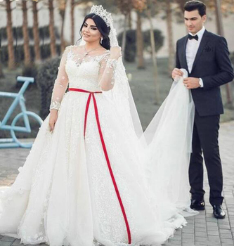 Red And White Applique Plus Size Long Sleeve Wedding Dress Bridal Gown -  Buy Long Sleeve Wedding Dress Bridal Gown Product on Alibaba.com