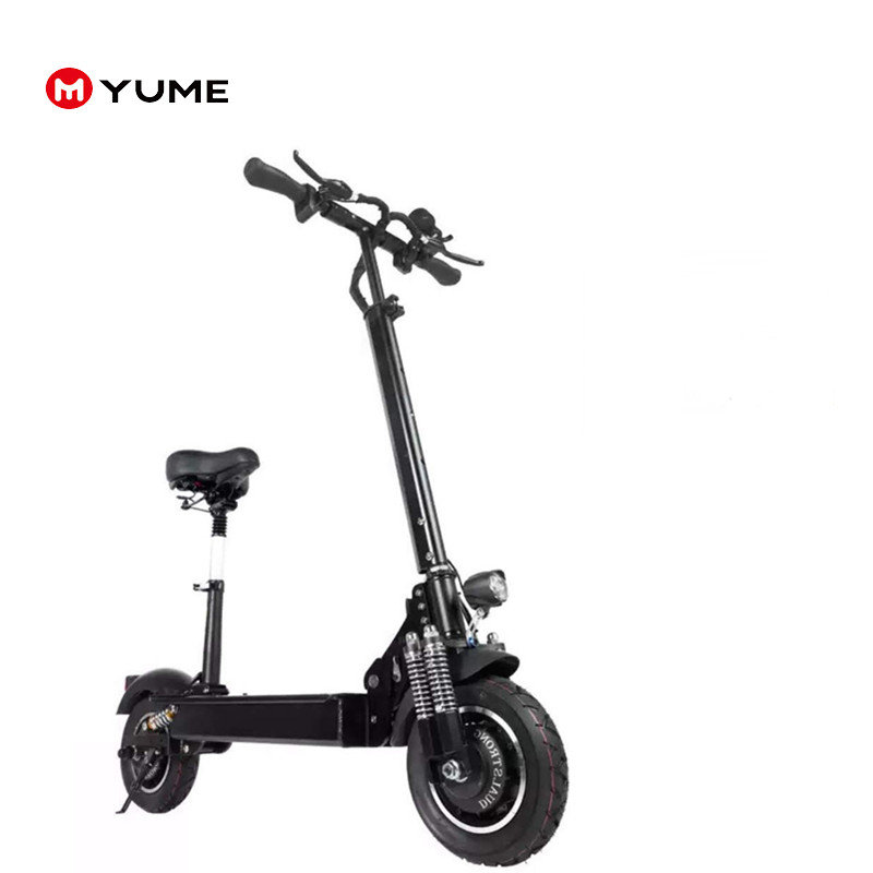 2018 New 10inch folding dual motor 52v 2000W hub motor fat tire electric scooter with seat, Black electric scooter
