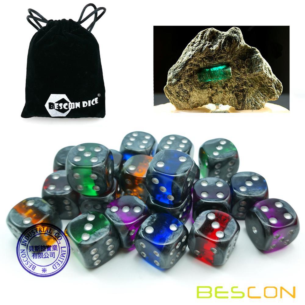 Bescon Mineral Rocks GEM VINES 6 Sides 16MM Dice Set 20 Pack, 5/8 D6 Mineral Rock Dice Set in Assorted Colors фото