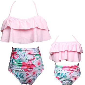 Mommy And Baby Girls Two Pieces Bikini Family Swimsuit Fashion High Waist Printed Parent-Child Swimwear