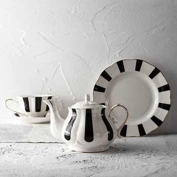 Graceful afternoon tea black striped tea set porcelain with gold line