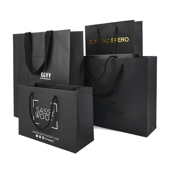 Custom printed logo hot stamping silver pressed black paper bag with handle