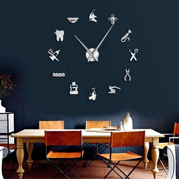 Dentist Clinic Business Sign Decorative Large 3D Wall Clock Dental Doctor Instrument DIY Big Clock Dentist Office Decor