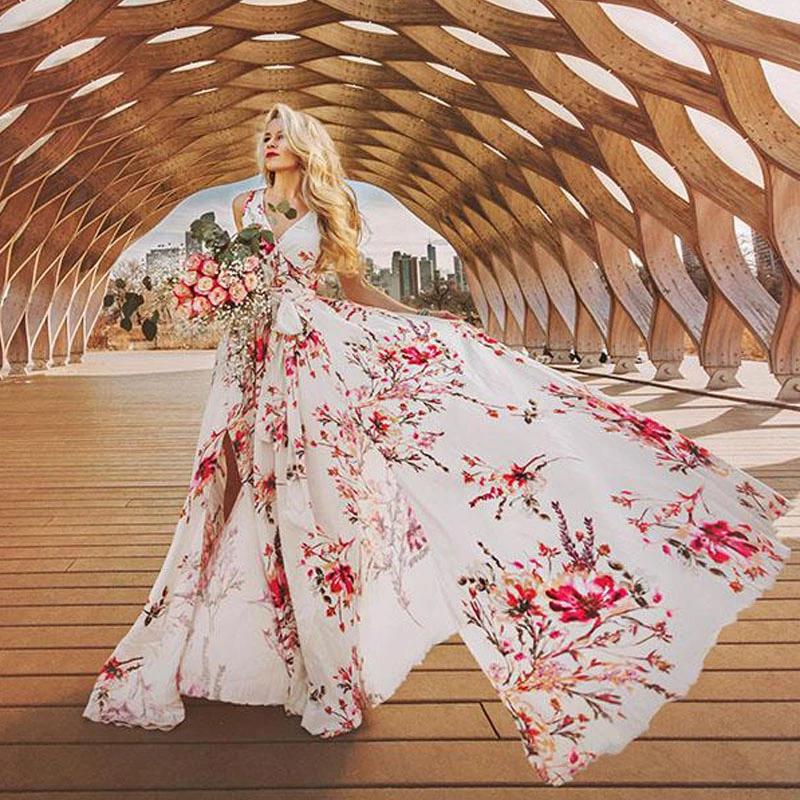 2019 New Summer Spring Elegant Floral Maxi Dress A-line Long women Dress фото