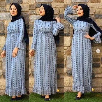 Long Sleeve Muslim Dress Kaftan Dubai Women Lace Dress Abaya