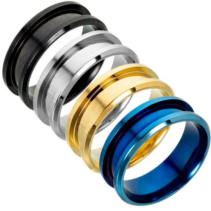 8mm width handmade diy jewelry making silver gold black blue cheap wholesale stainless steel blank ring for inlay, N/a