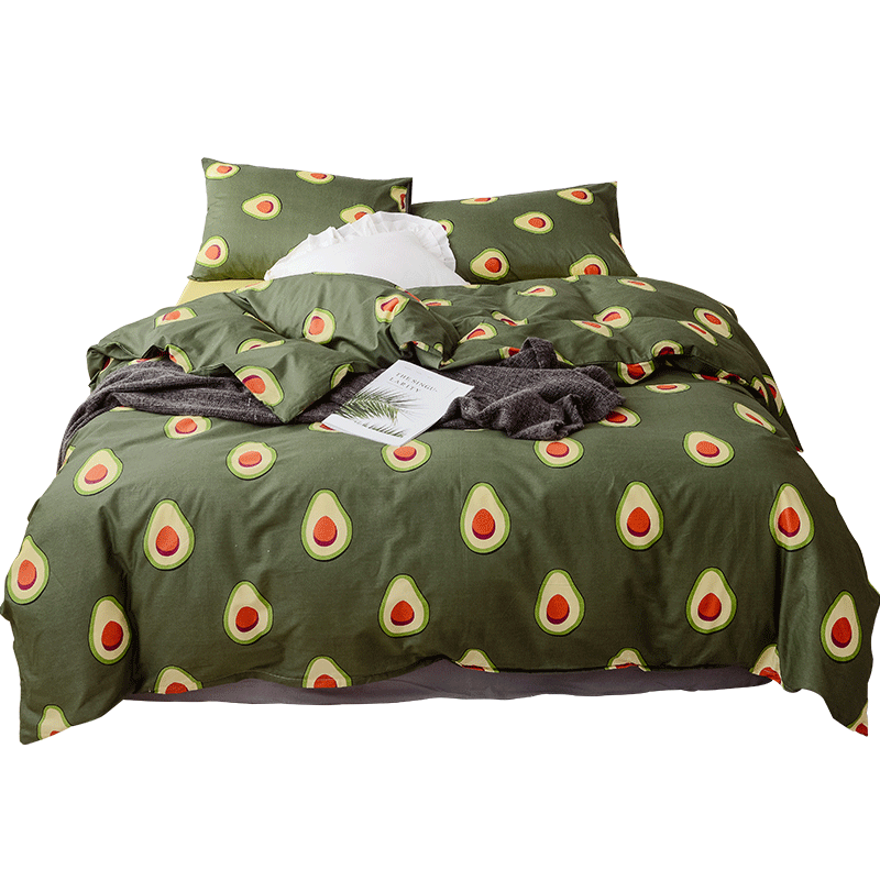 Avocado Printed Butter fruit green 100% Cotton Bed Sheet Sets