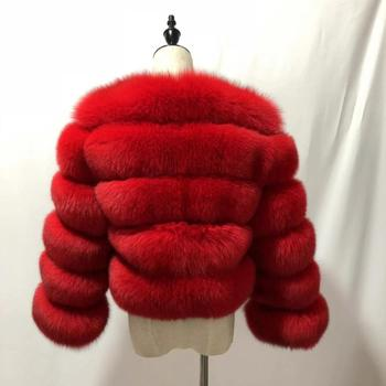 Wholesale fashion retail ladies real fox fur garment round collar fur loose blue fox long coat