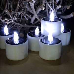 Homemory Rechargeable Waterproof Flickering Cool White Light Flameless LED Solar Powered Tea Light Candle for Outdoors