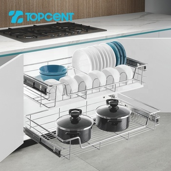 TOPCENT stainless steel kitchen cabinet cupboard pullout drawer wire storage baskets