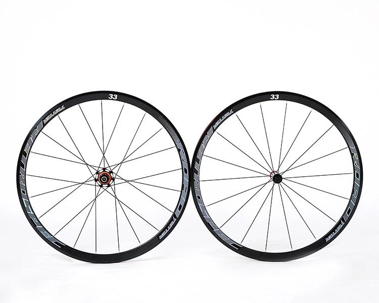 China supplier OEM cheap reflective decal 40mm 33mm 700C Alloy road bike wheelset aluminium, Blackred/ blackti
