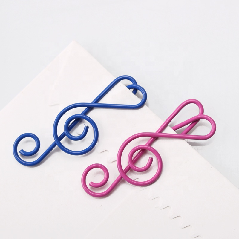 Different color office gift Music clef note shaped paper clips