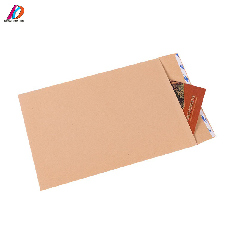 Custom Printed Brown Kraft Paper Envelope with Peel and Seal Flap