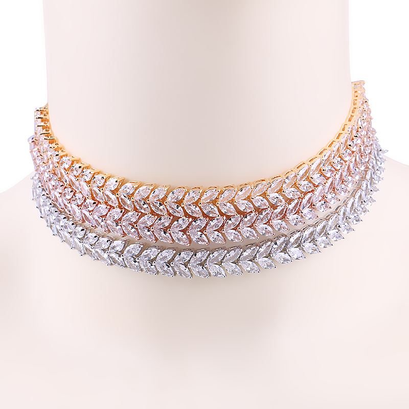 Marquise Leaf Cubic Zirconia Zircon CZ Shinning Tennis Choker Necklaces for Women Jewelry