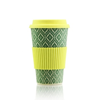 Reusable Biodegradable 400ml bamboo fiber coffee cup with silicone lid