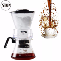 YRP 600ml Reusable Ice Cold Brew Coffee Maker Dutch Ice Coffee Filter Tools Glass Percolators Espresso Coffee Dripper Pot