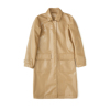 German Breathable Beige Men Long Pu Leather Trench Coat