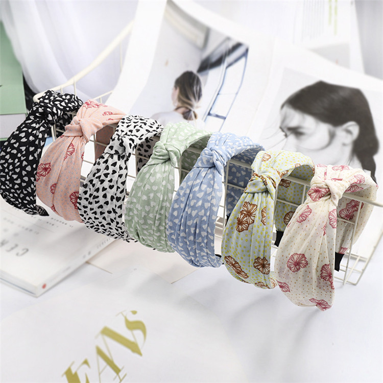 Korea Sweet Women Flower Printed Hair Band Hair Accessories Middle Knotted <strong>Headbands</strong>