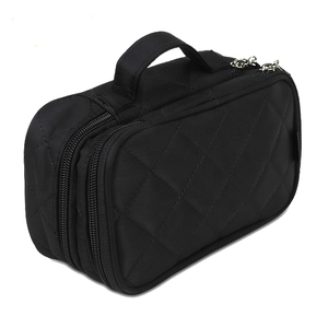 black quilted nylon portable bag makeup organizer case