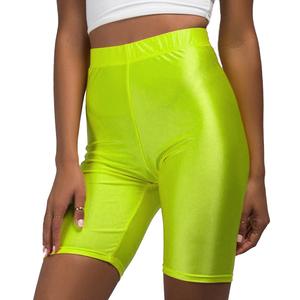 2019 Colorful Fluorescent Shorts Women Satin High Waist Neon Shorts Fitness