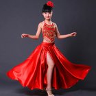 New Flamenco Skirts Kids Sequined Vest Red Long Spanish Dance Skirt Gypsy Costume For Girls Stage Performance Clothing DNV11149