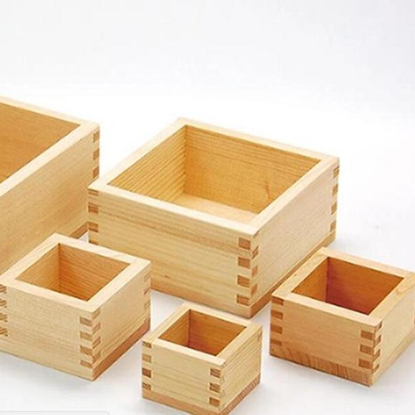 unfinished multi purpose wooden DIY craft box without lid/small square shape wooden tray