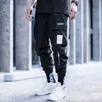 Killwinner 100 polyester multi pockets joggers men tide brand black waterproof loose webbing sports function cargo pants