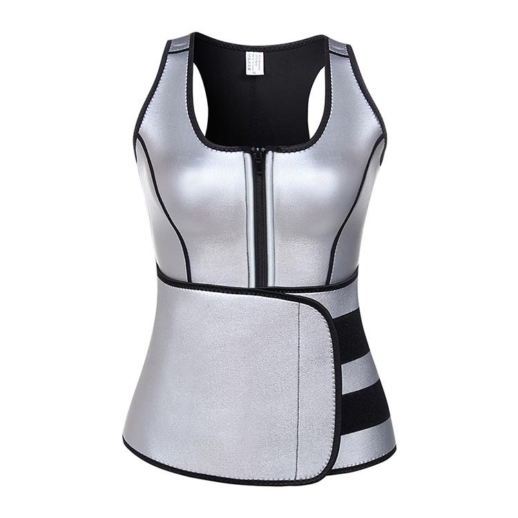 Lover-Beauty Silver Shapewear Pu Neoprene Shaper Vest Custom Made Shapewear Sweat Suit фото