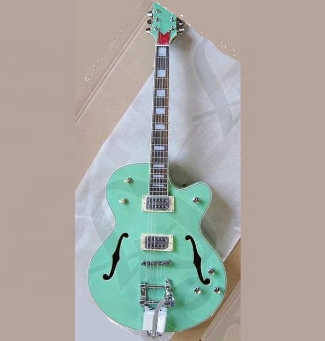 Weifang Rebon hollowbody jazz electric guitar with light green colour фото