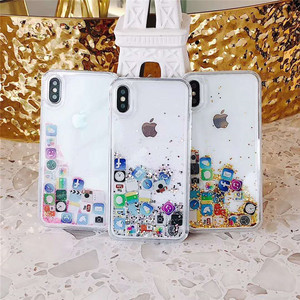 App icon glitter liquid sand water moving tpu pc phone case for iphone x/xs