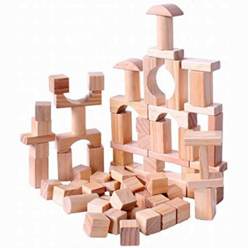 Colorful construction geometric assembling stacking game wooden toy building blocks craft set for kids education