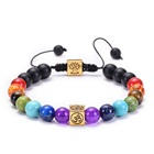 Fashion lucky beads 7 Chakra Natural energy Stone bracelet with engraved charms