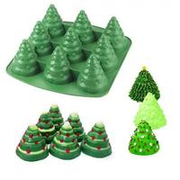 High Quality 9 Cavities 3D Christmas Trees shape Cake Silicone Mold