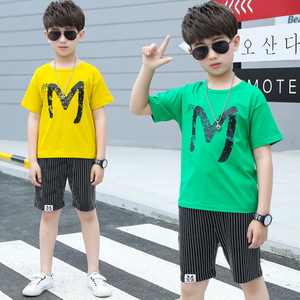 Designer Children'S City Boy Clothing Boys Wholesale 2 Piece Set  Short Sleeves Kids Boys Wear Collection Striped Shorts Set