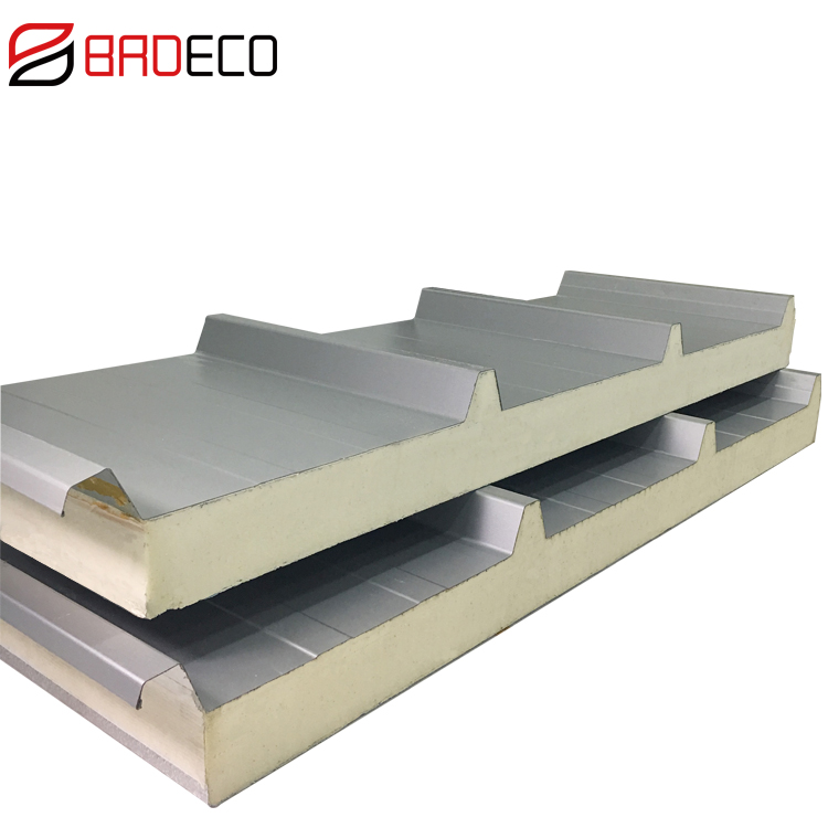 100mm colored steel PU insulated composite roof covering panels/sheets