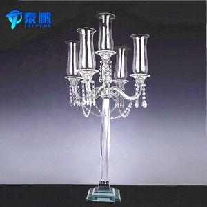 High quality 5 arms tall wedding crystal candelabra for table centerpieces