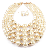 2019 fashion real pearl necklace earring set pearl jewelry set necklace