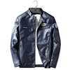 Men fleece thick slim South Korean style pu leather jacket with wholesale price