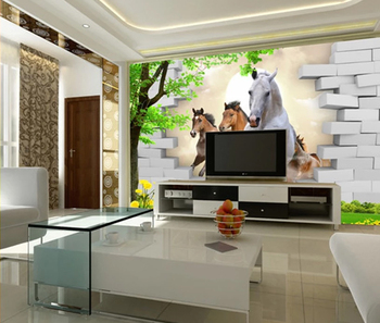Running Horse With Brick Wallpaper Murals 3d For Home Decoration