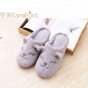 TPR sole fur soft plush house indoor room slippers for people