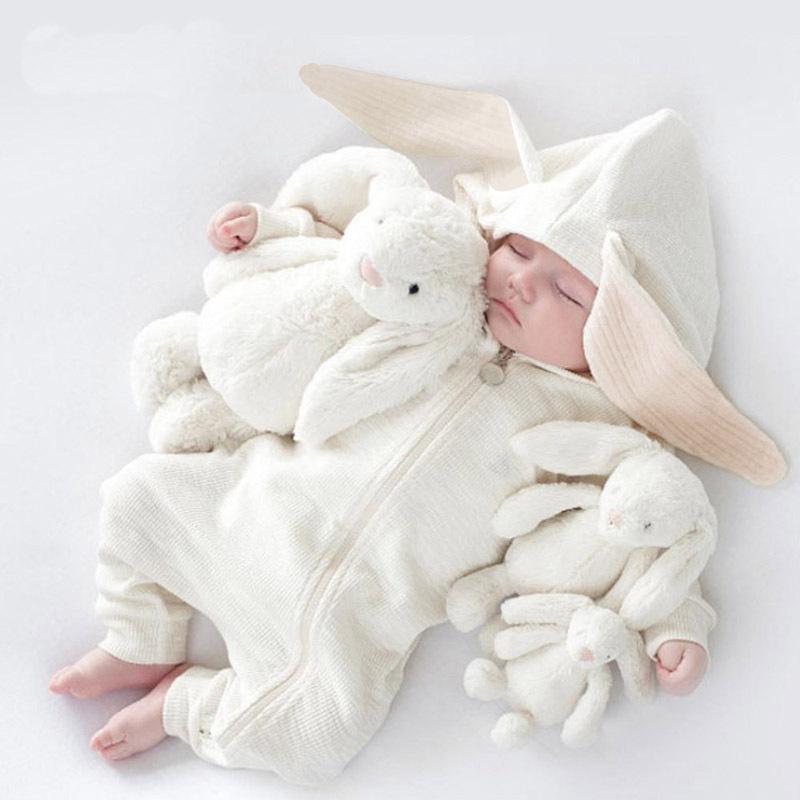 Hot sale infant big ear rabbit hooded zipper romper baby clothes romper фото